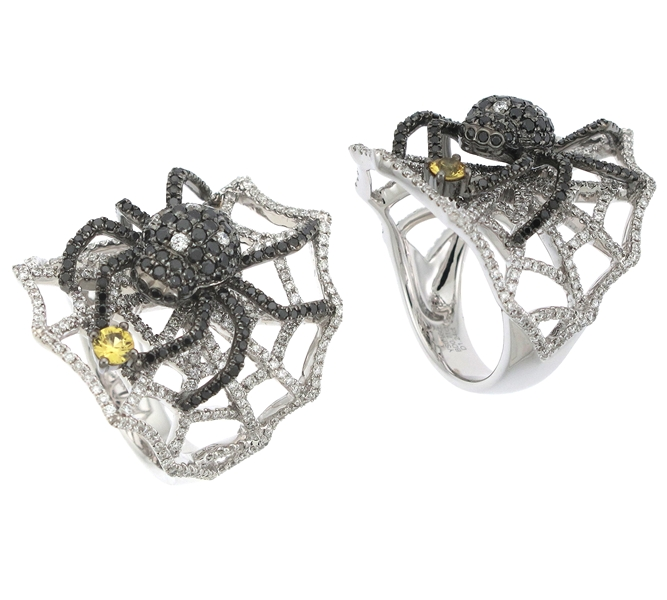 Supreme Jewelry black diamond spider ring
