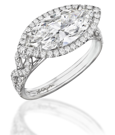 Leo Ingwer signature marquise east-west diamond ring