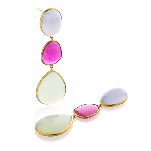 Bahina triple color gemstone drop earrings