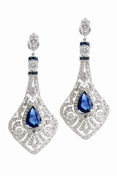 Sethi Couture sapphire Art Deco drop earrings