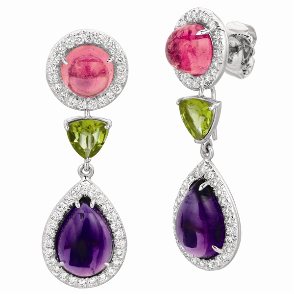 Gemveto detachable cabochon drop earrings