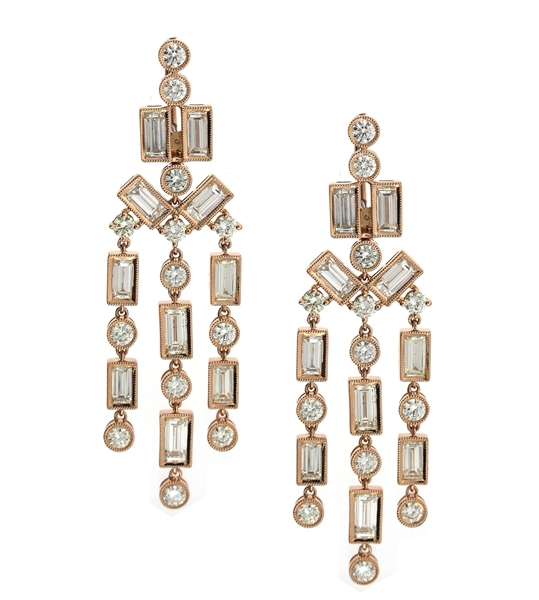 Supreme Jewelry rose gold diamond chandelier earrings