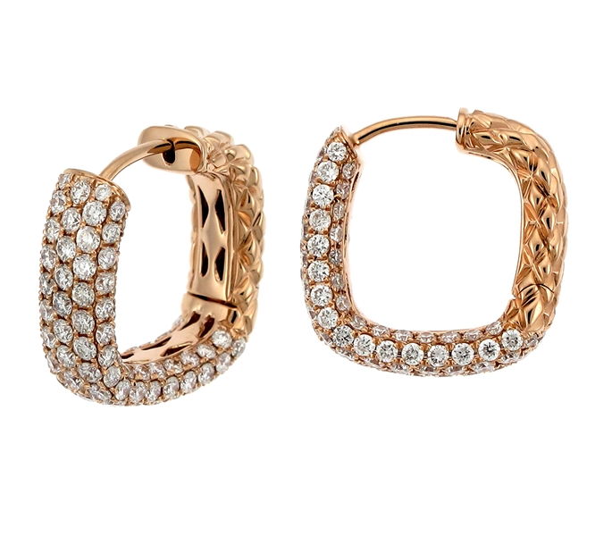 Supreme Jewelry squared hoop diamond earrings