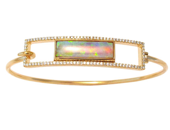 Jane Taylor Rosebud ID bracelet with diamond frame