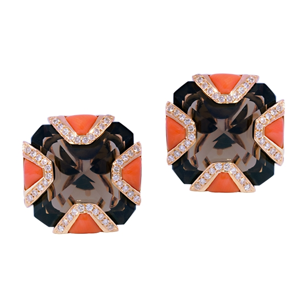 Sonette smoky quartz and coral Art Deco earrings