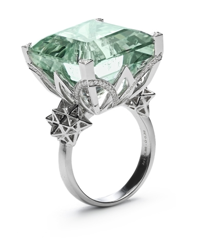 Bibi van der Velden aquamarine Art Deco cocktail ring