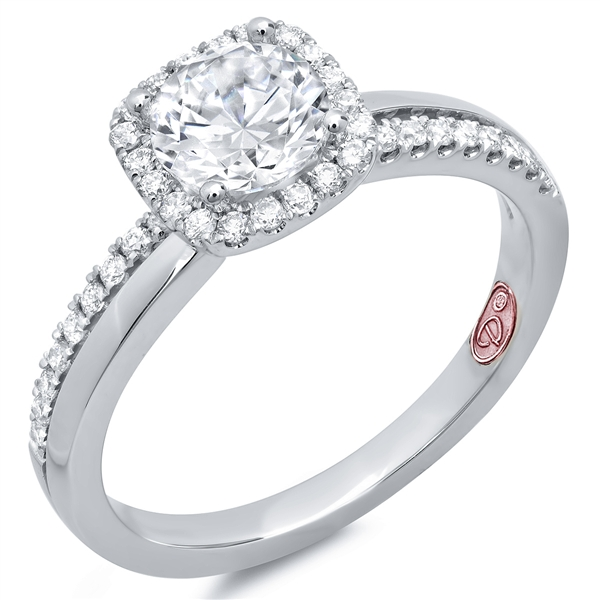 Demarco Jewelry cushion halo diamond engagement ring