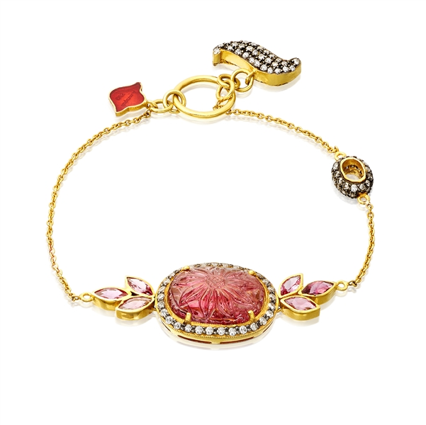 Amrapali carved ruby Lotus charm bracelet