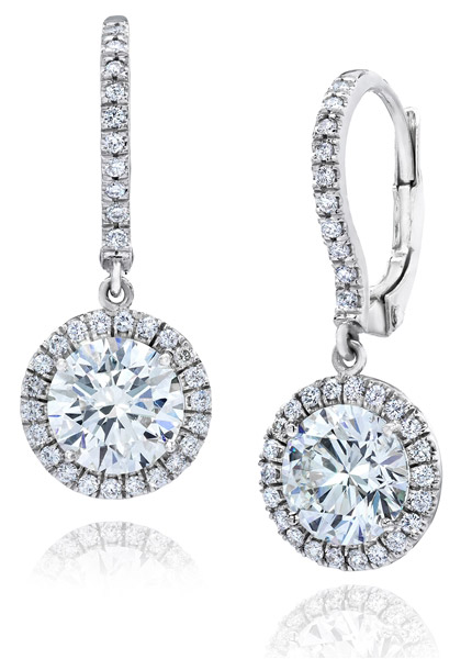 Gem Platinum round diamond halo drop earrings