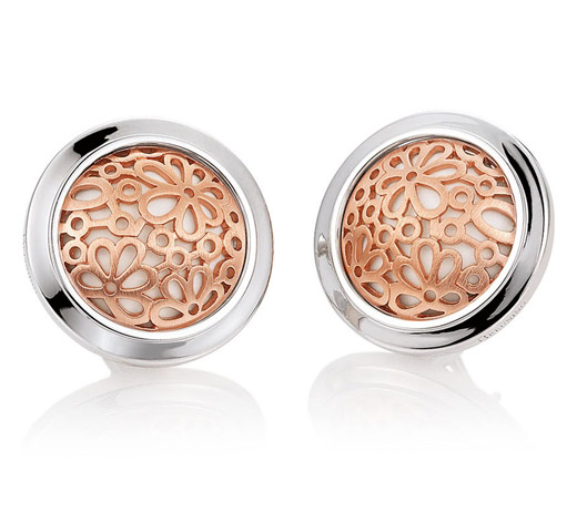 Breuning rose gold flower Corian earrings