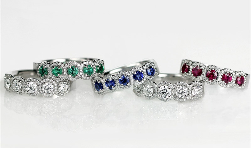 N.E.I Group precious gemstone halo rings