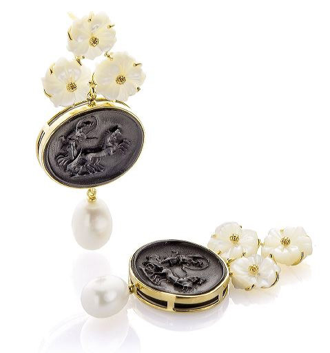 Bahina black and white cameo earrings