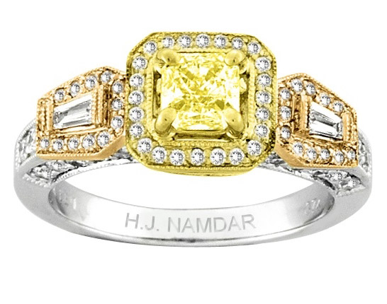 H.J. Namdar tricolor gold fancy yellow diamond ring