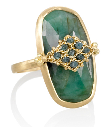 Amali Jewelry emerald slice chain ring