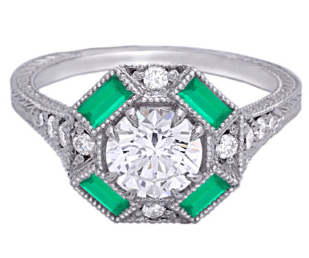 Timeless Designs octagonal halo vintage engagement ring