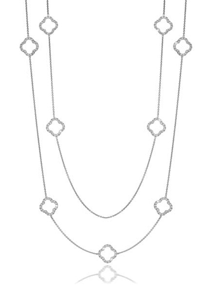 Whitehouse Brothers diamond quatrefoil station necklace