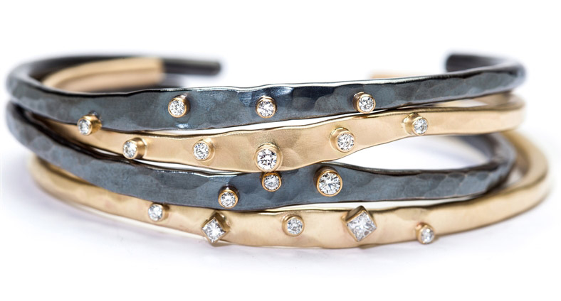 Rebecca Overmann hand-forged diamond cuff bracelets