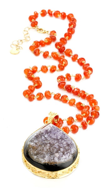 Nina Nguyen Wisteria drusy and carnelian necklace