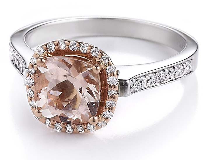 Makur two-tone morganite halo ring