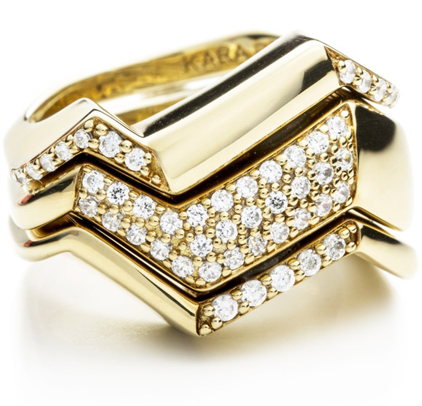 Kara Ross NY Petra contoured diamond stacking bands