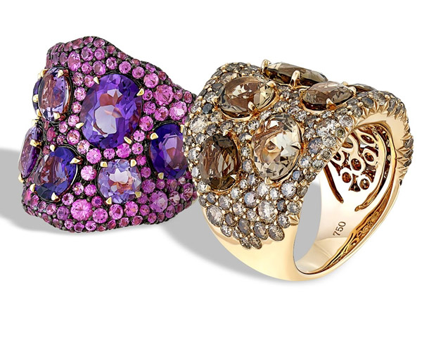 Sofragem Bubbles and Facets statement rings