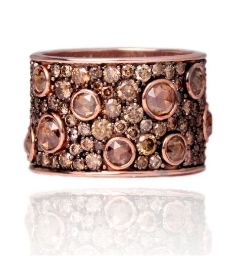 Norman Covan cognac diamond cuff ring