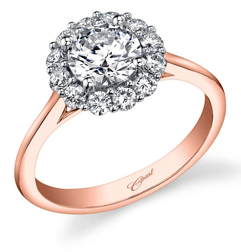 Coast Diamond Rose Gold halo engagement ring