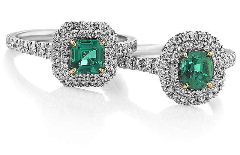 Akiva Gil emerald and diamond halo rings
