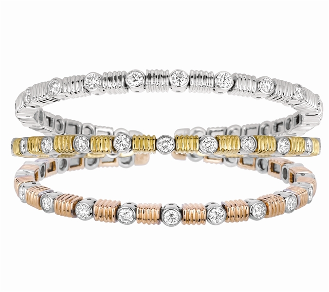 Gemveto diamond spring bangle bracelets
