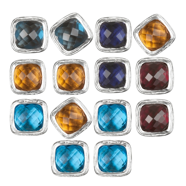 ARIVA colored gemstone button earrings