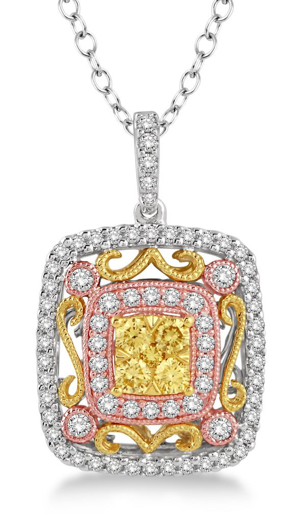 ASHI Diamonds tricolor square pendant