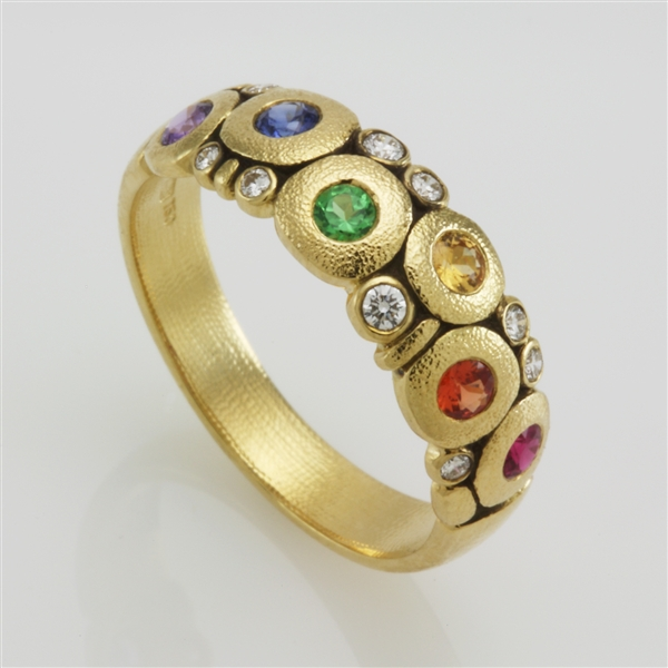 Alex Sepkus rainbow sapphire Candy Dome ring