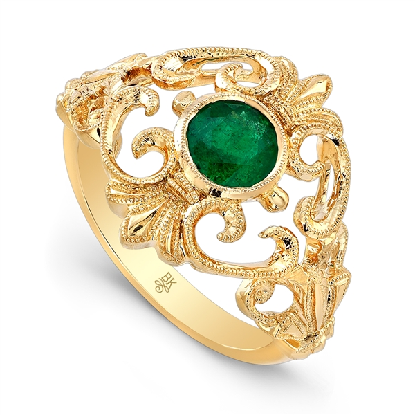 Beverley K bezel-set emerald filigree ring