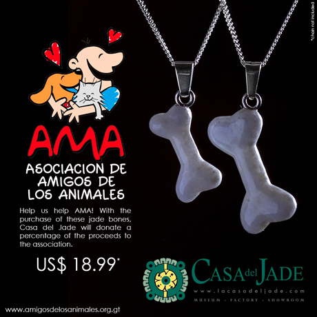 Guatemalan jadeite bone pendants sold by Casa del Jade in Guatemala benefit a local animal rescue group.