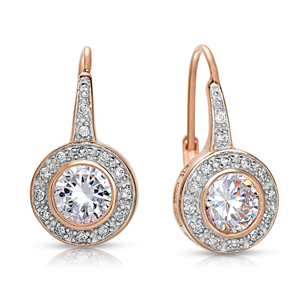 CZ Collections rose gold-plated CZ drop earrings