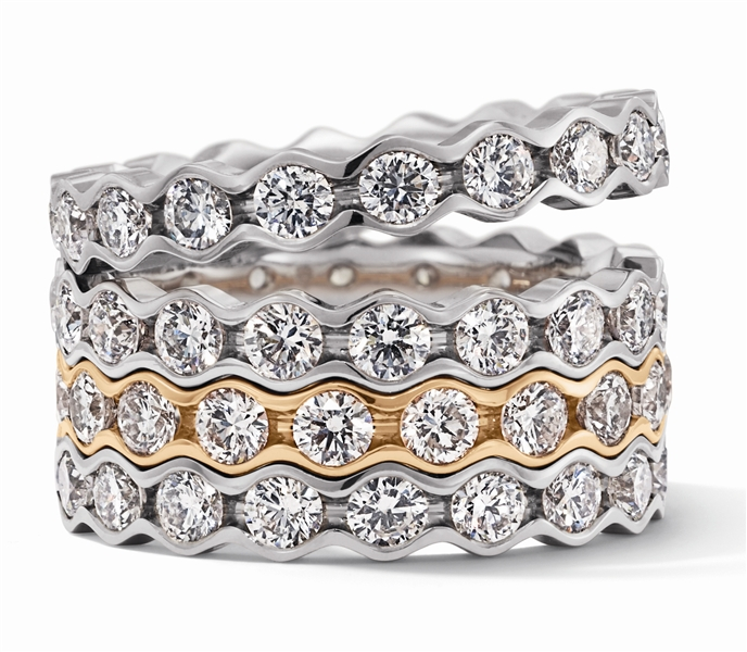 Christian Bauer stackable diamond wave bands