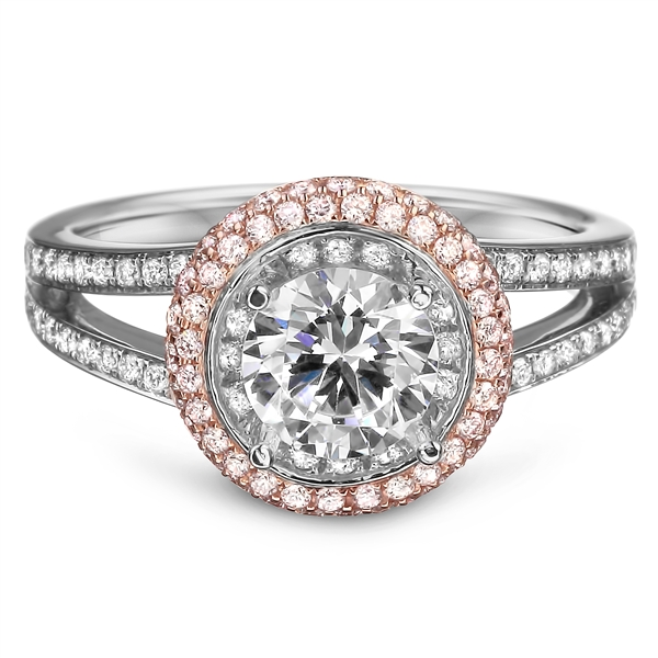 Diadori rose gold halo engagement ring