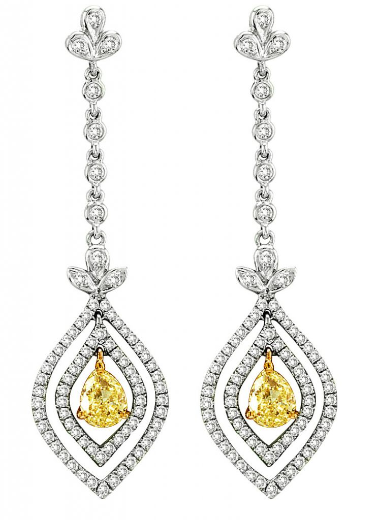 Designs by H.C. yellow and white diamond drop earrings