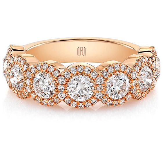 Rahaminov seven-stone diamond halo band