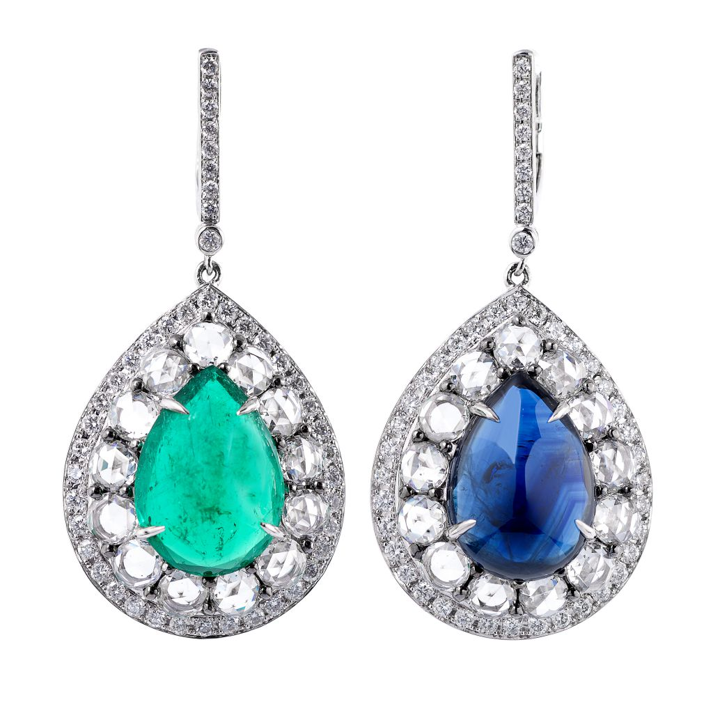 Miiori NY mismatched sapphire and emerald earrings