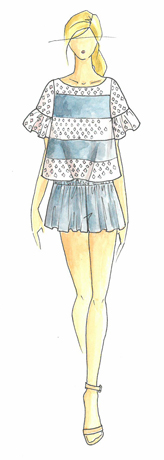 Ella Moss frock, sketch for Pantone
