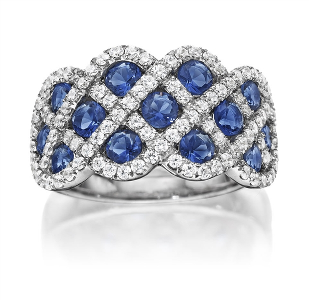 Fana sapphire and diamond woven ring