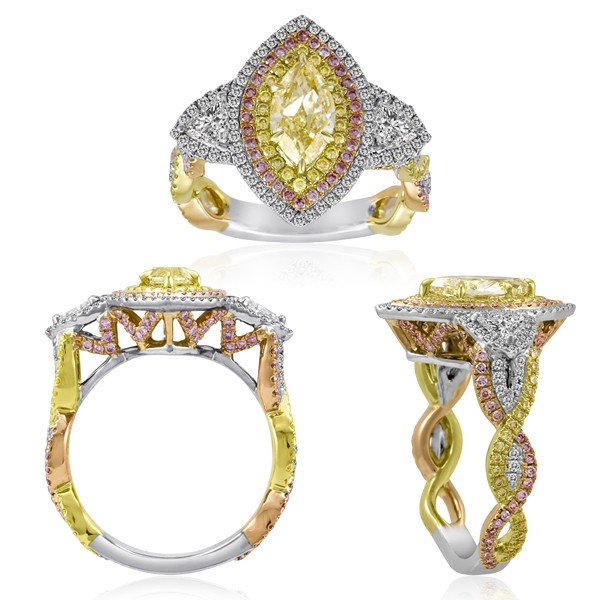 First Image Design yellow marquise diamond ring