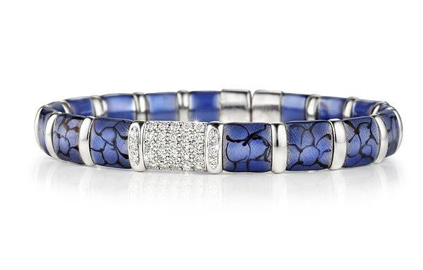 Henderson Collection gold, silver, enamel, and diamond bangle bracelet