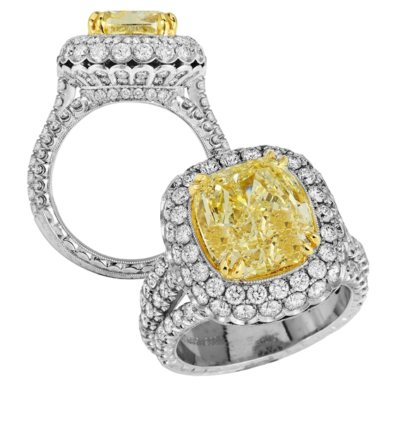 Jack Kelege custom fancy yellow diamond ring