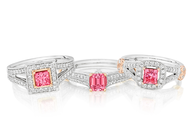 Color-enhance pink diamond rings from the Fiamma collection by Kama Schachter