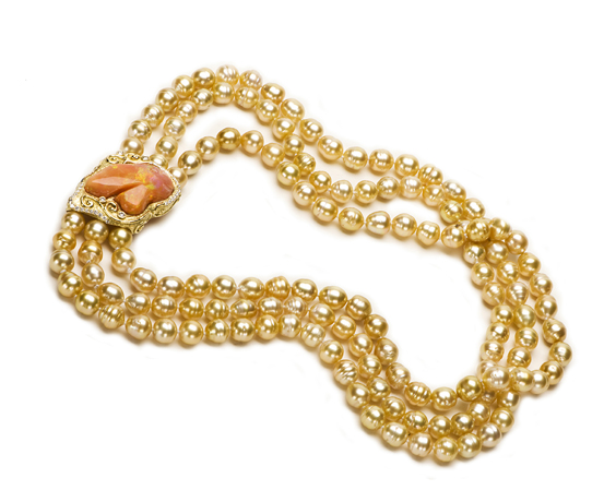 Katey Briscoe golden pearl and fire opal necklace