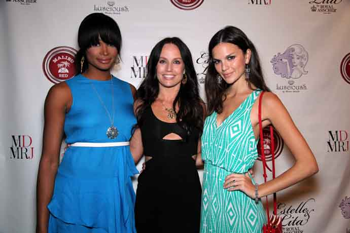 Kendra Bridelle of LusciousS with friends at a jewelry debut party in New York City