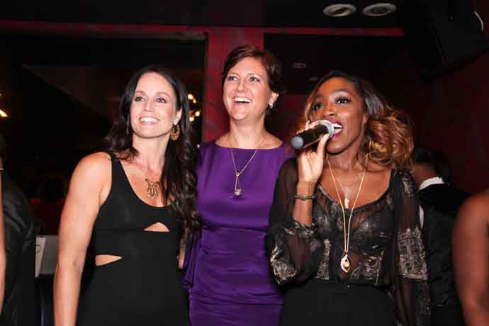 From left: Kendra Bridelle of LusciousS with Lita Asscher of Royal Asscher and singer, Estelle, at a jewelry debut party in New York City
