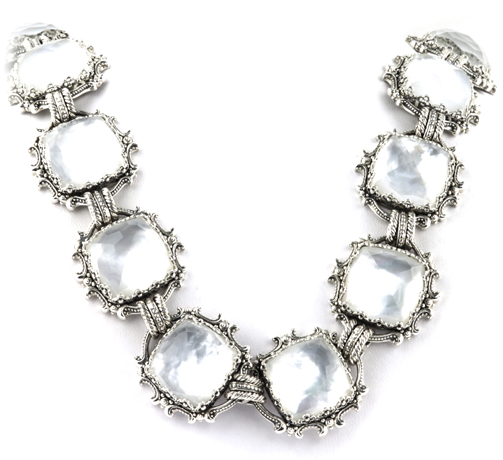 Kontantino silver necklace with rock crystal quartz over mother of pearl